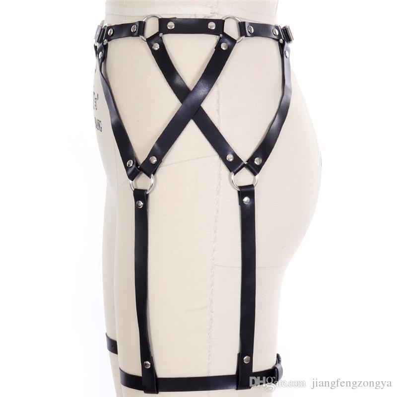 EN CUIR HARNAIS BONDAGE Jambe Anneau PORTE-JARRETELLES cuisse Bas Bretelles ceinture taille Haute Noir Lingerie Harajuku Goth De Danse