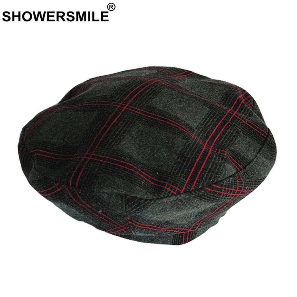 SHOWERSMILE Women Berets Cotton Gray Painters Hat Female Plaid ... 0817e9fc93b0