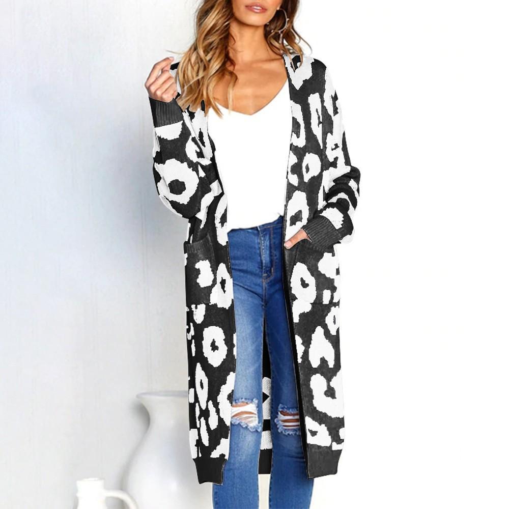 4eb375e4d9 Großhandel ISHOWTIENDA Strickjacke Female Sweater 2018 Lange Strickjacke  Pullover Leopard Druck Oversize Mantel Damen Sueter Mujer Von Missher, ...