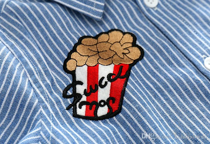 Boutique Oxford boys shirts pure cotton power Popcorn letter S embroidery kids clothing wholesale cheap China 90-100-110-120-130