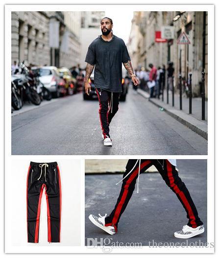 451a4c6e Pantalones deportivos nuevos para hombres Jogger FOG Kanye West Biber  College Pantalones deportivos de rayas laterales Hip Hop Pantalones sueltos  ...