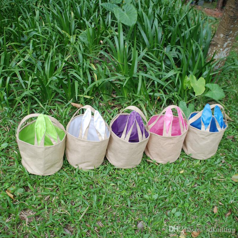 Easter Rabbit Bucket Bag Basket Bunny Candy Put Easter Eggs Rabbit Portable Shopping Carrying Bags Easter Baskets Tote Handbag
