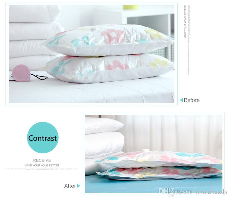 Vacuum Storage Bag Thickened Vacuum Compressed Bag with Hand Pump Reusable Blanket Clothes Quilt Storage Bag