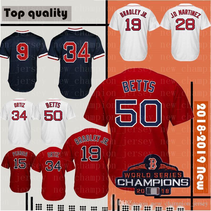 Mens Boston Red 50 Mookie Betts 19 Jackie Bradley Jr. Jersey 15 ... 45a8b2afa
