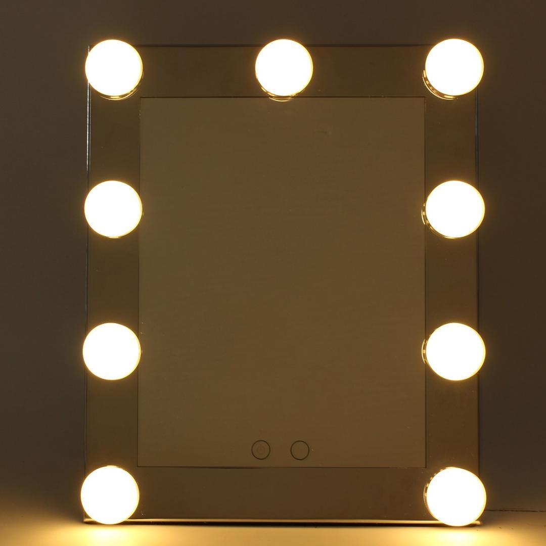 Table Standing Desktop Vanity Mirror With Light Bulbs Lamp Adjustable Large Lighted Led Touch Screen Makeup Mirror Cosmetic Tool Mirrors With Lights Oval ...