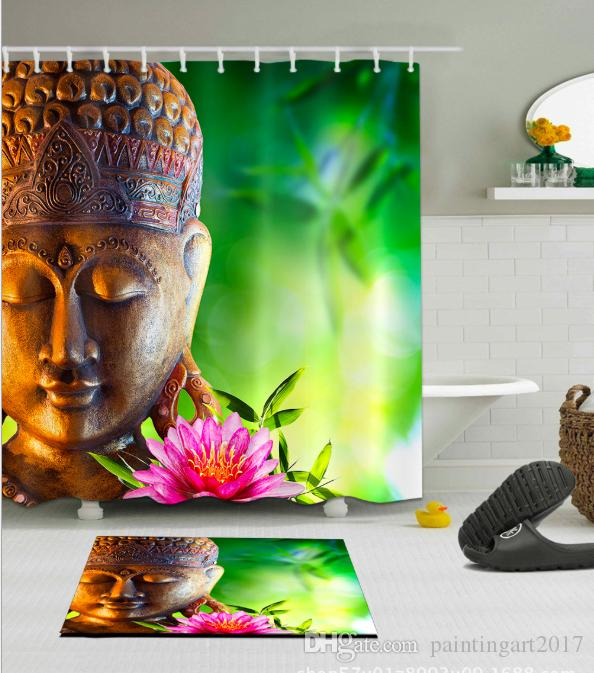 2018 3D Buddha Lotus Print Shower Curtain Art For Bathroom Waterproof And Fabric Romantic Curtains Floor Mats Sets From Paintingart2017