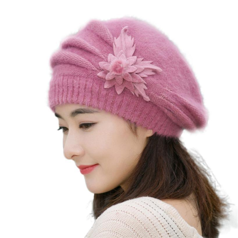 82af1757f3e Wholesale 2016 Winter Warm Hat For Women Knitted Wool Floral Gorros Skullies    Beanies Elegant Hats Female Ladies Bonnet Enfant Hats Bucket Hats From ...