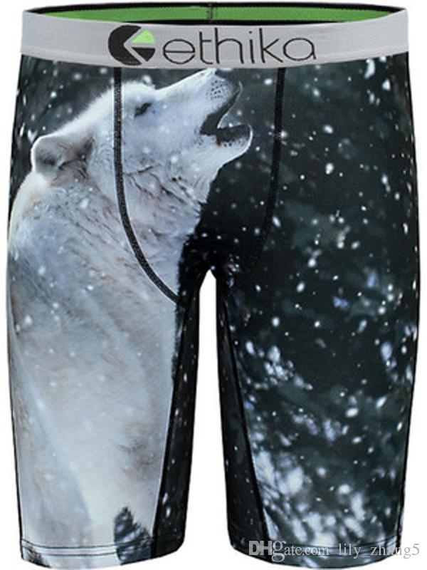 Esquilo do pavão lobo gato de raios-X Quick dryinge algodão boxers Ethika homens cuecas boxers de marca boxer calções cueca boxer perna longa