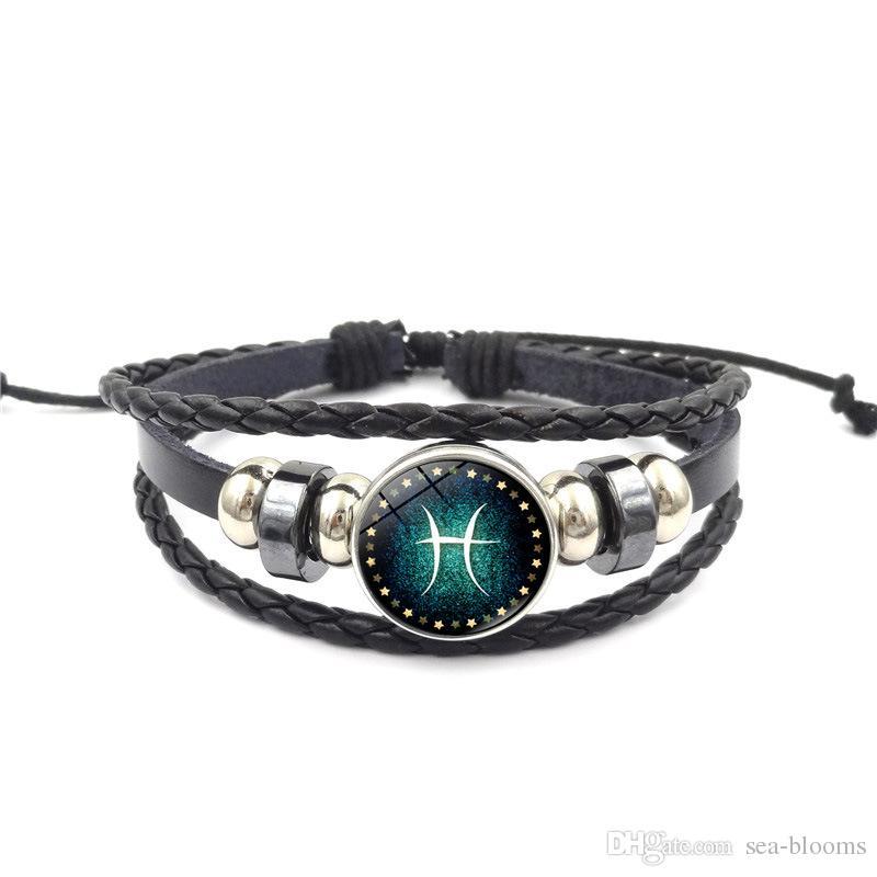 Vendita calda 12 Bracciale Costellazione Uomo Donna intrecciato bracciali in pelle braccialetti coppia braccialetto migliore regalo DHL libero D601S