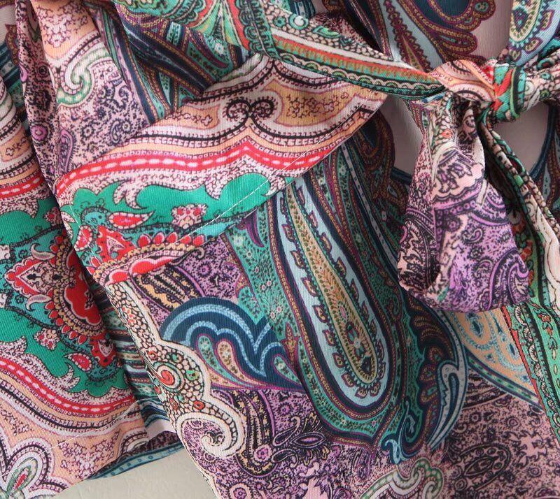 Retro Paisley 인쇄 Sashes 허리 블레이져 캐주얼 2018 여성 Notched Collar Slim Fit 중반 정장 Jacket Coat Outerwear with Belt