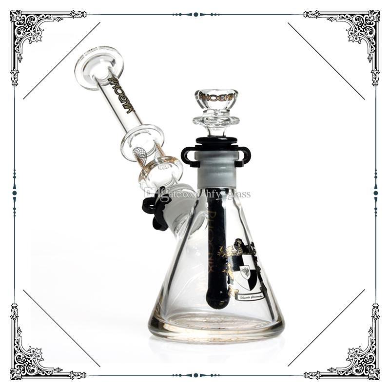 Hot sale phoenix 7mm thick beaker bong Dab Rig Glass bubbler bongs water pipes build a bubbler bong heady glass smoking pipes