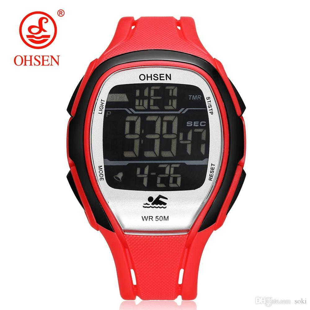 a9f1cc2bc90 OHSEN Sport Watches LED Digital Time Waterproof Mens Womens Unisex Quartz  Rubber Band Wrist Watch Model 1802 Watch Mens Watch Womens Watch Online with  ...
