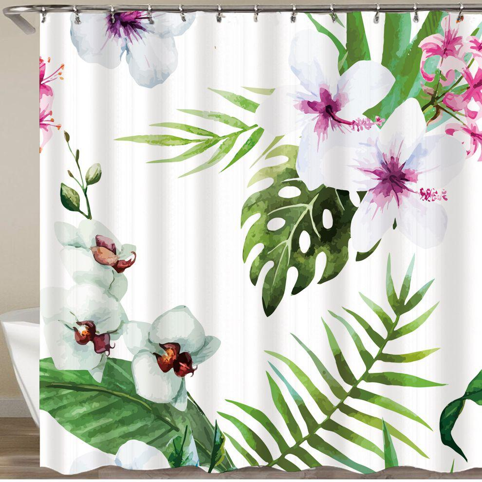 2019 Orchid Shower Curtain 3d Bath Hooks Polyester Fabric Christmas Scenery Green Forest Vintage Waterproof Bathroom From Caley 3658