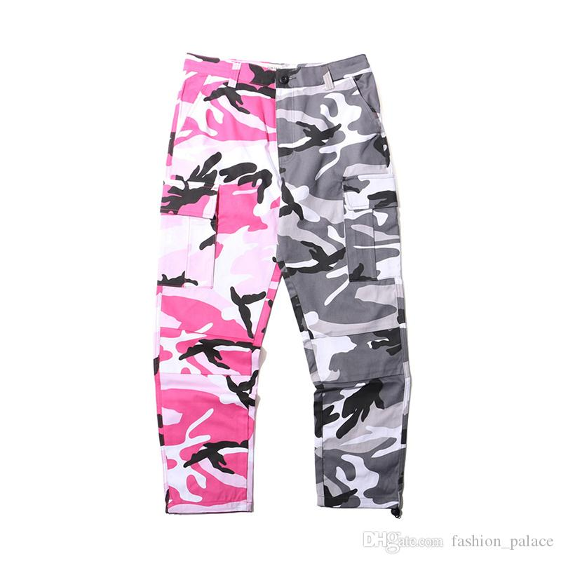 Men's Camouflage Cargo Pants New Style Patchwork Camo Jogging Pants Men Women Hip Hop Streetwear High Quality Trousers BFSH0502