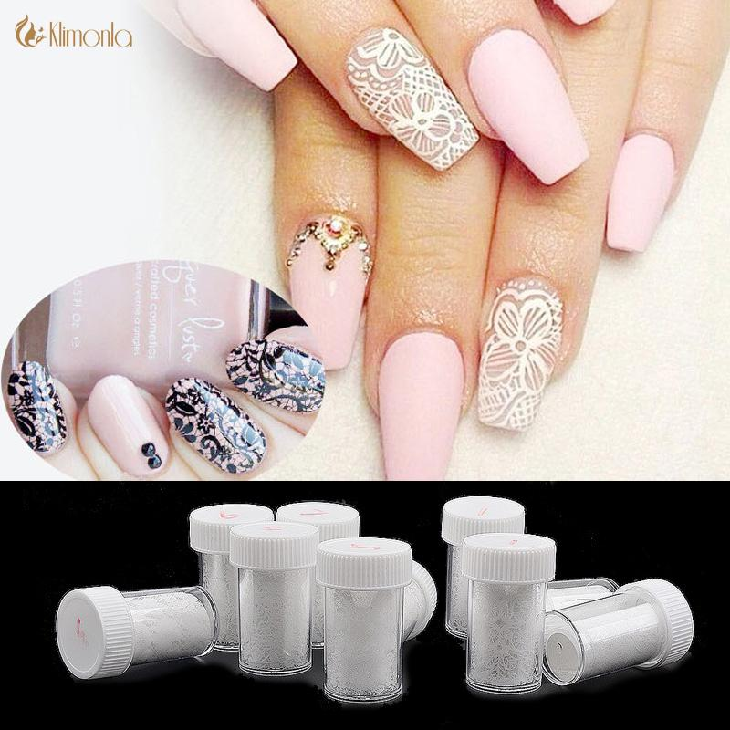 White Lace Nail Stickers Nail Art Water Transfer Foil Lace Charm ...