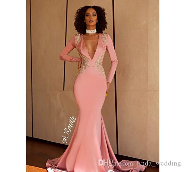 2019 Pembe Mermaid Balo Elbise Uzun Kollu Backless Örgün Pageant Tatil Giymek Mezuniyet Akşam Parti Kıyafeti Custom Made Artı Boyutu