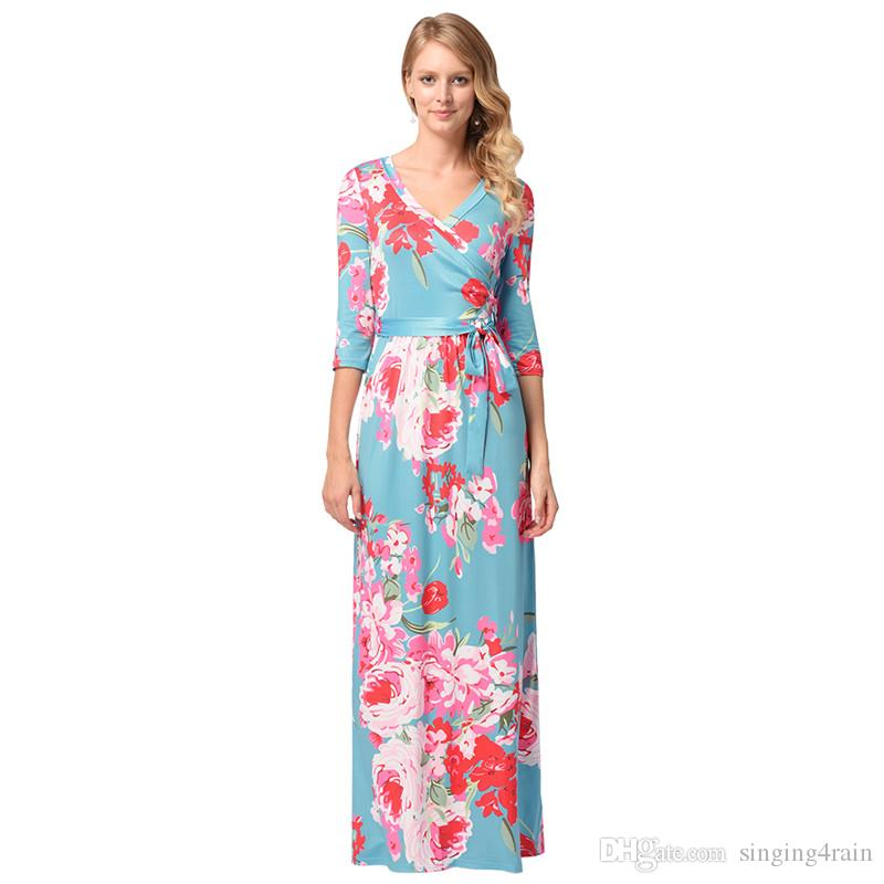 Hot Sale Plus Size Dress Sexy V Neck Floral Print One Piece Dress