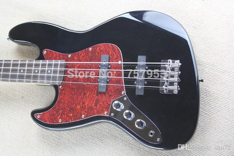 Factory Custom Shop 2015 new High Quality Left Hand 4 string jazz Black Bass guitar red pearl Pickguard 1110