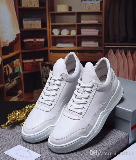 Brand Luxury casual cow leather low top men skateboarding shoe fashion sneakers men street dancing shoe sports white Shoe,38-44