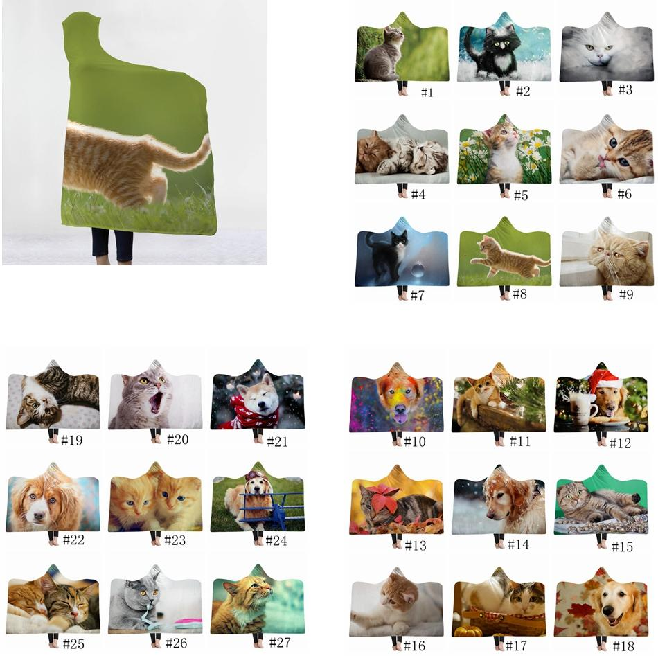 Pets Hooded Blankets Adult Kids Sherpa Cloak Cute cat dog Themed Hoodie Blanket 3D Print Fleece Shawls Plush Cape Towel GGA1365