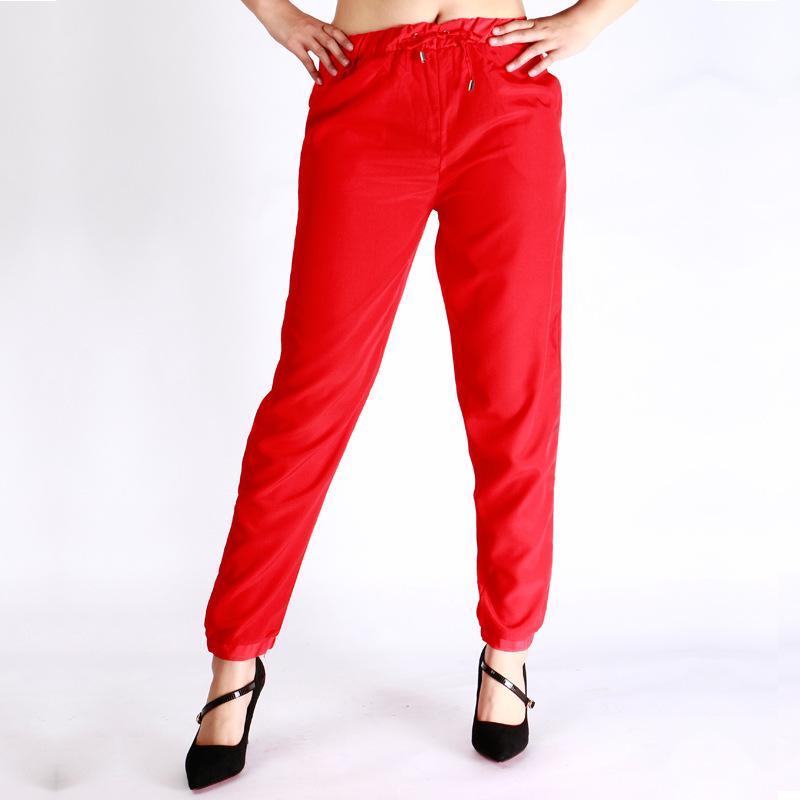 Compre Mujeres OL Gasa Cintura Alta Pantalones Harén Cordón Elástico  Bolsillos De Cintura Pantalones Casuales Pantalones Negro Rojo S 2XL A   25.94 Del ... 9b77cd5e7084