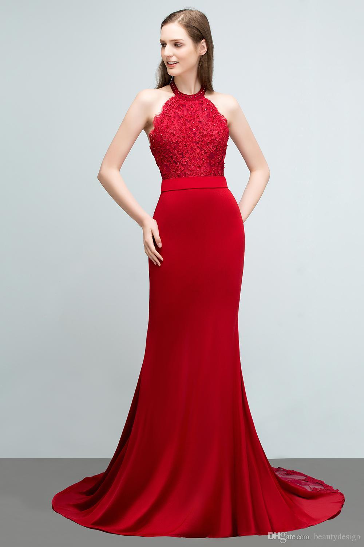 Immagini reali Red Elastic Satin Designer Prom Dresses Applique Piano Lunghezza Sirena Halter collo abiti da sera abiti da damigella d'onore CPS798