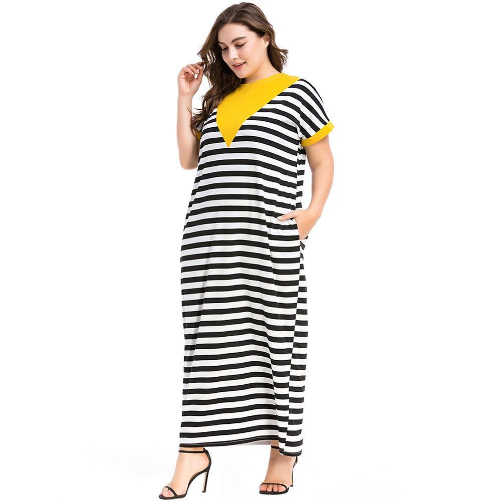 4b8a23224 3187094 Venta caliente Vestido de gran tamaño para mujer Euramerica Vestido  largo de punto con rayas horizontales Nuevo estilo Vestido suelto Mujer ...