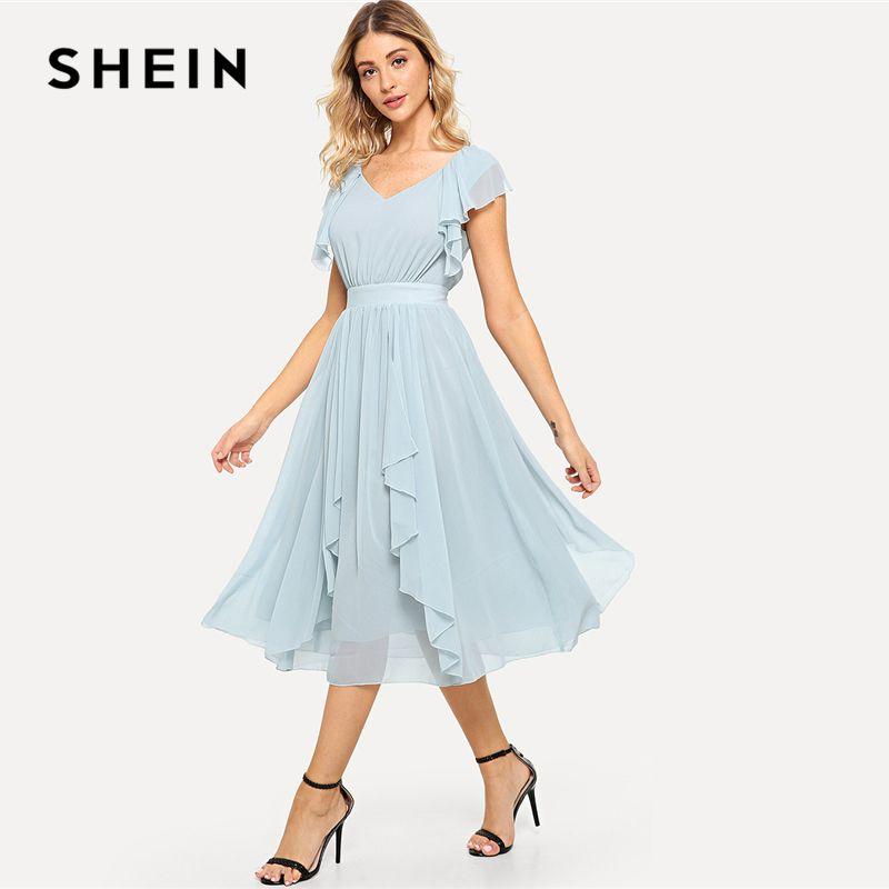 Compre SHEIN Sólido Azul Pastel Elegante V Cuello De La Colmena Del Vestido  De La Cremallera Sin Mangas Acampanadas Vestidos De Las Mujeres Del Verano  ... 646ed8ca03bf