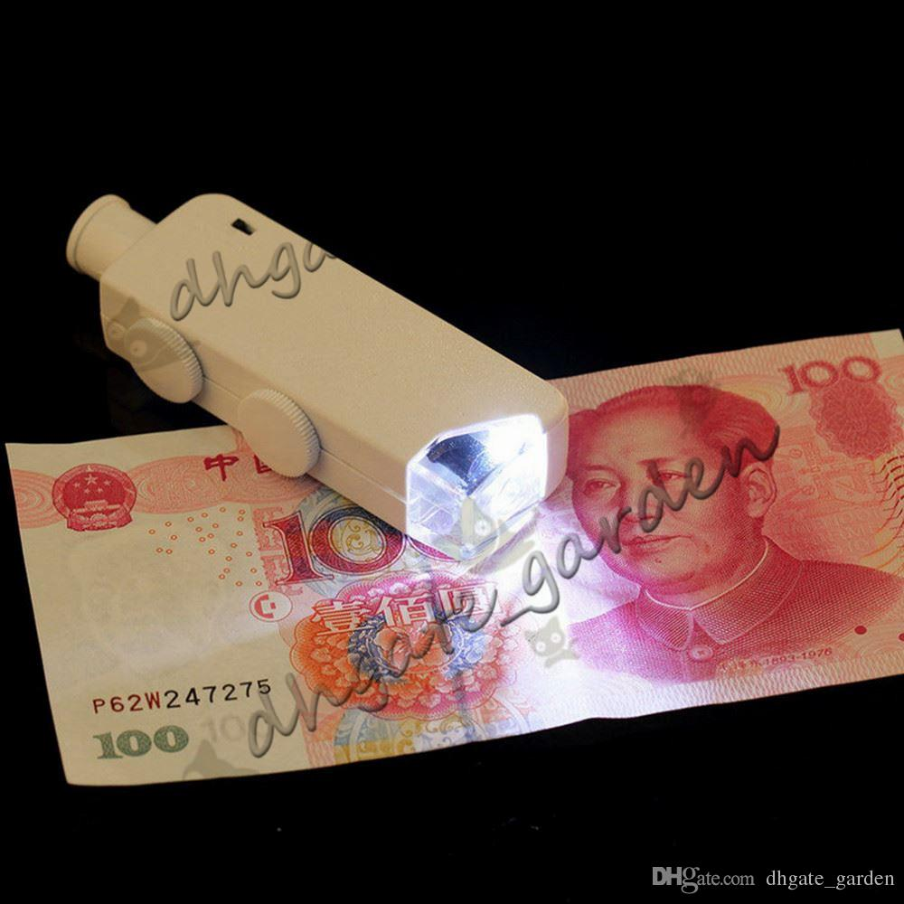 Mini 160X-200X Magnifying Illuminated Zoom LENS Pocket Microscope Magnifier Loupe With LED Handheld White and Black