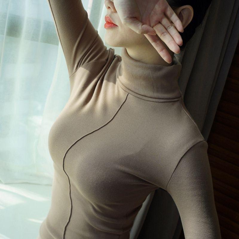 bca90e1bb9 2019 Women Turtleneck Pullover Sweater Soft Jumper Long Sleeve Autumn Winter  2018 Warm Thick Slim Fit Tops D1891902 From Shen07