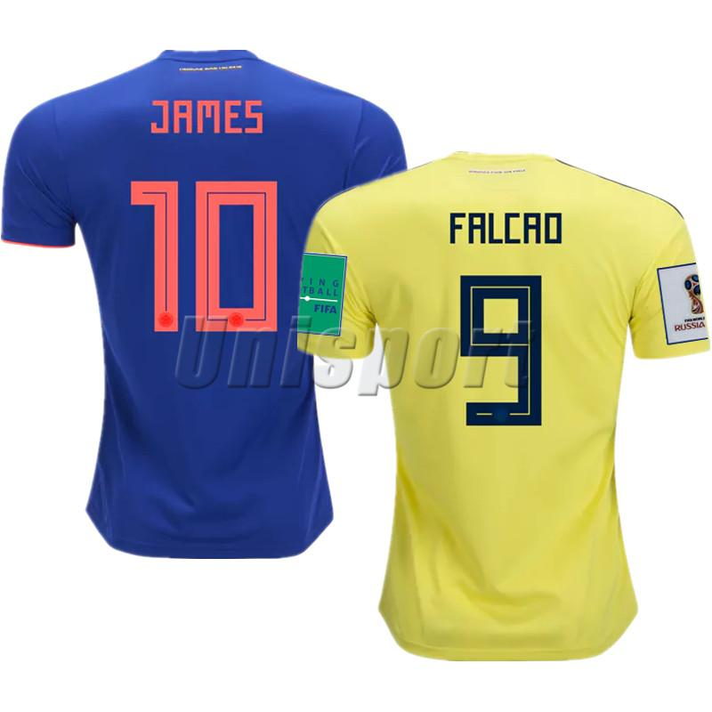 9e697addd51 World Cup 2018 Colombia Home Away Soccer Jerseys James Falcao Futbol ...