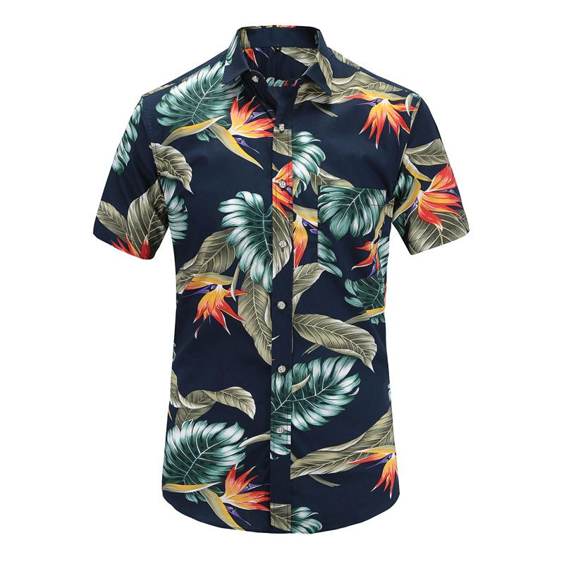 c0d65646c9b8b0 2019 Dioufond Casual Mens Beach Hawaiian Shirts Cotton Floral Print Short  Sleeve Tops Man Turn Down Color Plus Size Mens Blouses 2018 From Shipsoon,  ...
