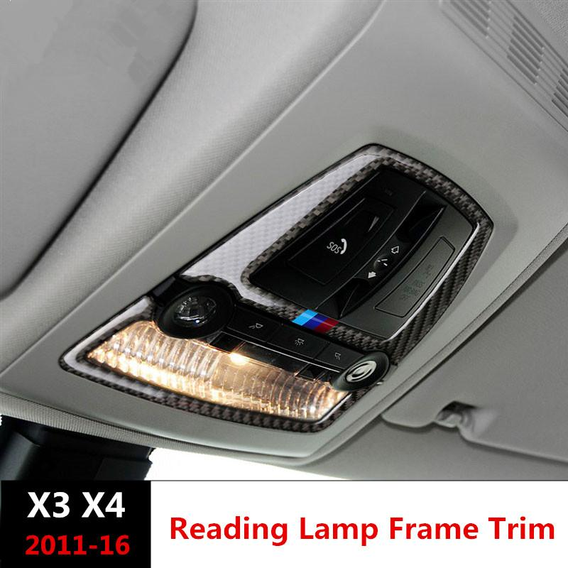 3356ee5d0d88 Car Styling Carbon Fiber Car Roof Reading Lamp Frame Decoration Dome Light  Trim Decals For BMW X3 F25 X4 F26 2011 17 Car Accessories For Interior Car  ...