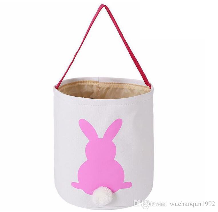 Paskalya Tavşan Sepet Paskalya Tavşanı Çanta Tavşan Baskılı Kanvas Tote Yumurta Şekerler Sepetleri 4 Renkler
