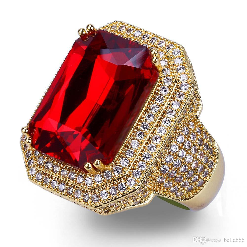 Men's Hip Hop Blingbling Ruby Rings Copper Pave Cubic Zirconia Gold color Ring Hipster CZ stone Jewelry Size Available Valentine's Day Gift