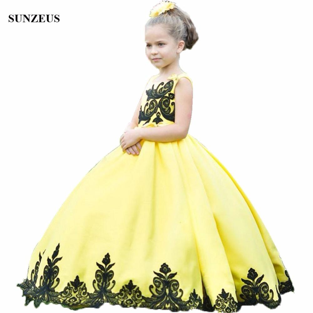 Ball Gown Yellow Satin Flower Girl Dress With Black Appliques Lace