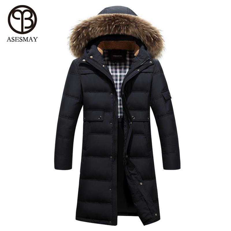 Asesmay 2017 brand clothing winter jacket men raccoon fur hood men parka jacket men wellensteyn x-long jacket winter thick coats