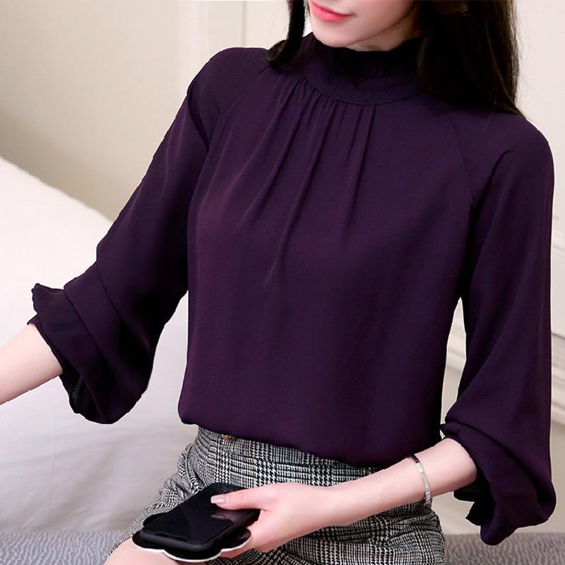56cf6c8700a22 Compre Nuevo Otoño 2018 Blusas Y Blusas Para Mujer Blusa De Gasa De Manga  Larga Mujer Moda Camisas Para Damas Tops Mujeres Camisa De Vestir Blusas A   47.65 ...