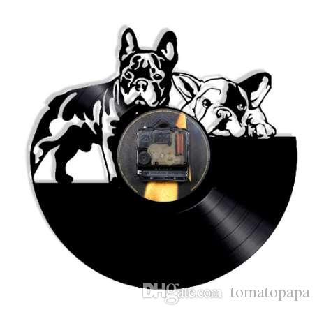 5c0bd4110b8 1 peça bulldog francês dog vinyl record relógio de parede design moderno  animal de estimação filhote de cachorro de estimação relógio de parede  relogio de ...