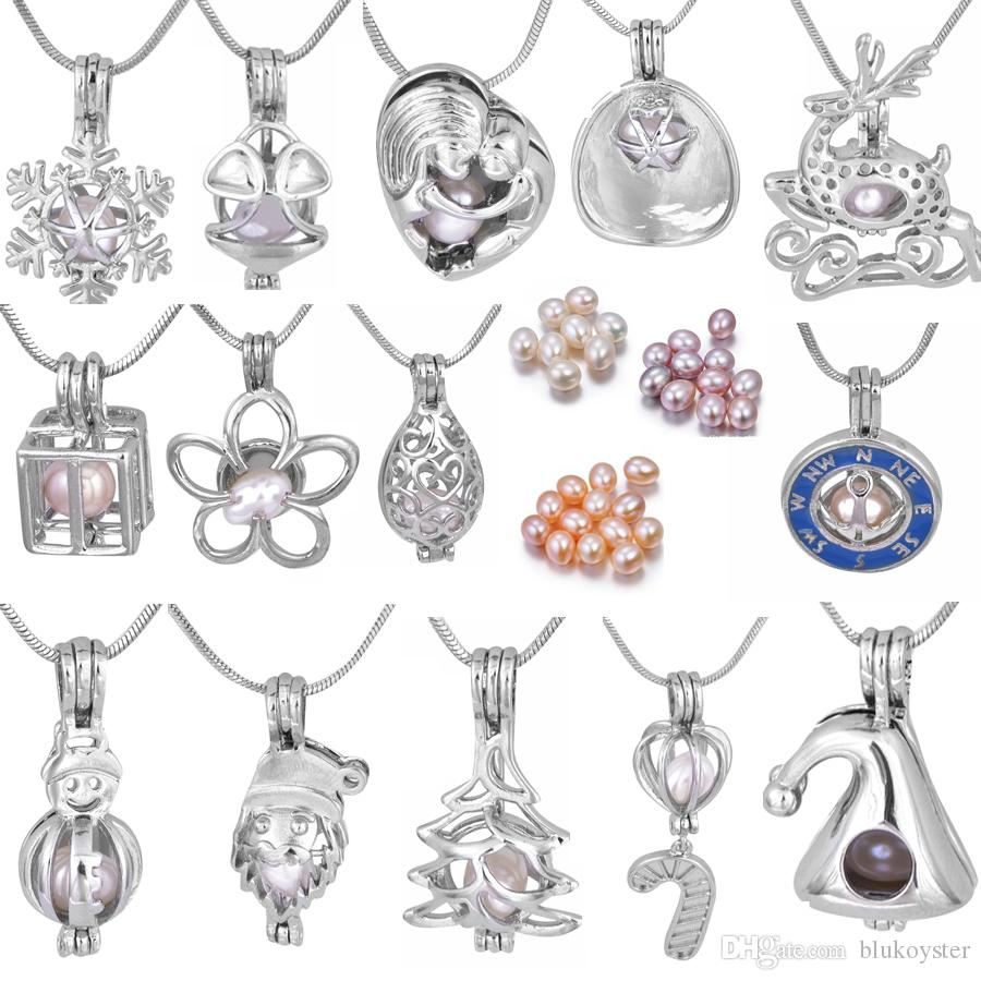 18kgp Silver Plated 6-7MM Natural Rice Pearl Cage Pendants Batman/Squirrel/Christmas trees/Snowman Charm Pendants Mountings Wholesale PP17