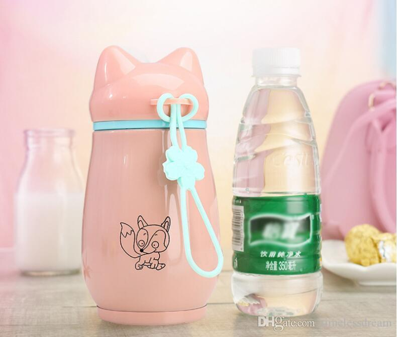 Personnalisable Tasses D'eau En Acier Inoxydable 300ml Dessin Animé Fox Tasses Enfant Flacons À Aspirateur Bouteilles D'eau Bouteille Thermos