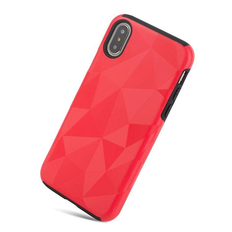 Para iPhone X 8/7 6S / 6 Plus Diamond Pattern doble capa cubierta de la caja - De alta calidad suave TPU de goma dentro y durable PC duro de plástico exterior
