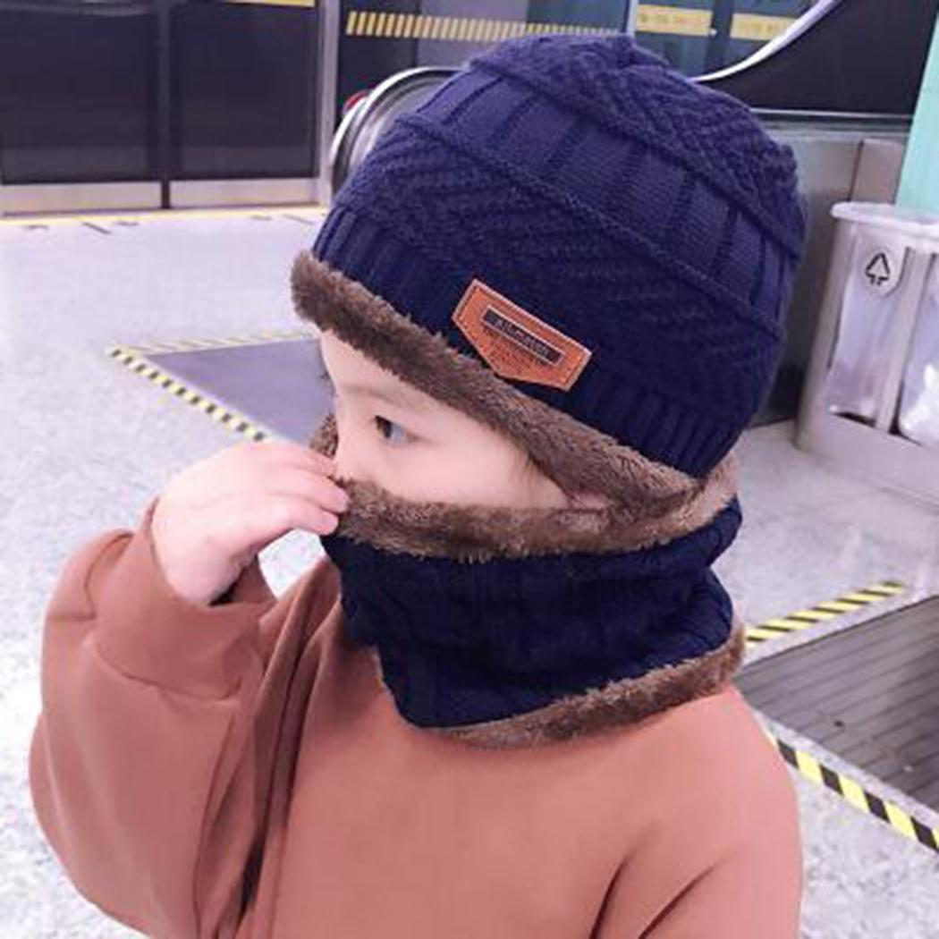 3bc46b367b07e 2019 2018 Winter Children Boys Knitted Beanie Hat And Scarf Set Kids Unisex  Warm Fleece Mask Balaclava Cap 3 12 Years Old Girls Boys From Bluelike