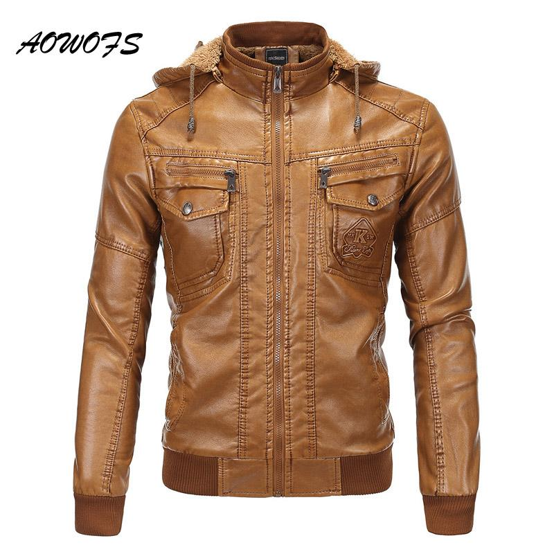 2019 Wholesale Aowofs Hooded Leather Bomber Jacket Men Winter Warm