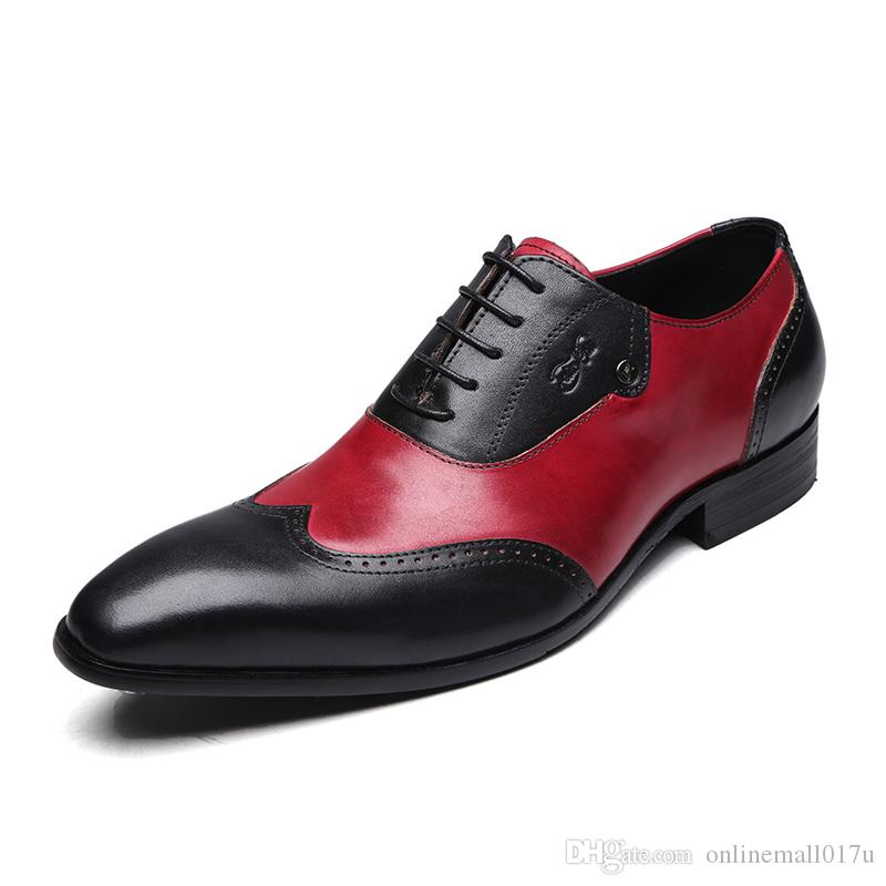 16905be5fde2 Modern Gentlemen Formal Oxfords Genuine Leather Mens Wedding Party Black  Red Dress Shoes Man Wingtip Brogue Purple Shoes Cute Shoes From  Onlinemall017u