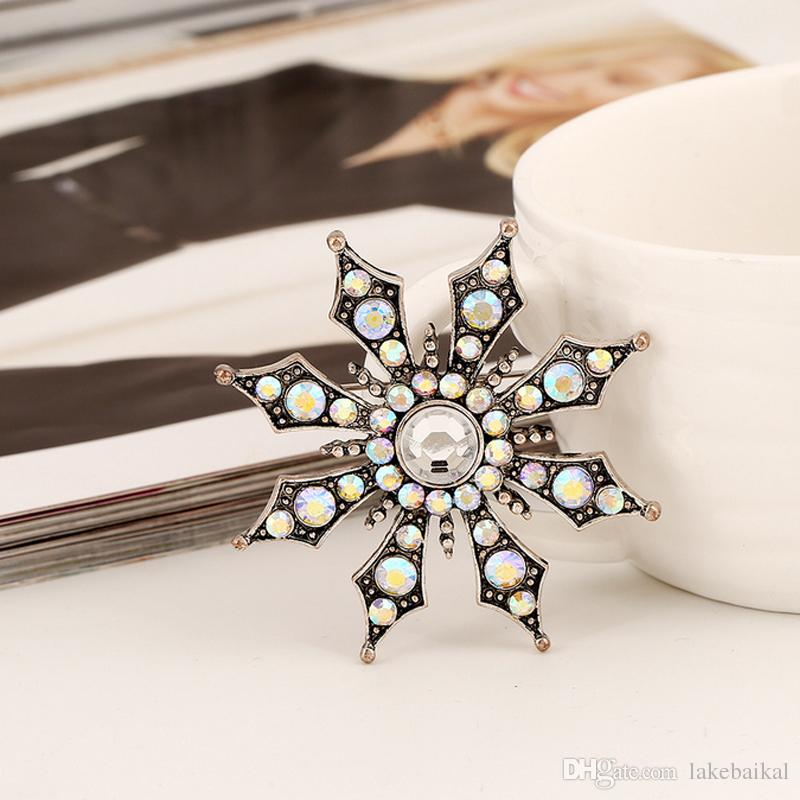 Retro Sunflower Rhinestone Brooch Women Girls Vintage Brooch Suit Lapel Pin for Gift Party Luxury Designer Jewelry Accessories