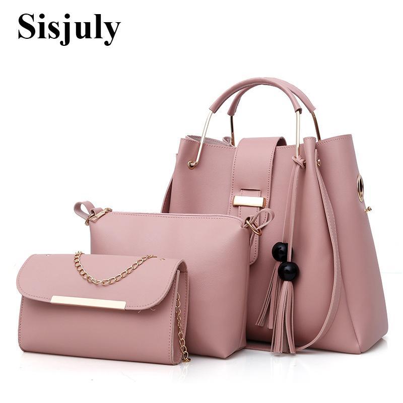 2369a178072 3Pcs/Sets Women Handbags Leather Shoulder Bags Female Large Capacity Casual  Tote Bag Tassel Bucket Purses And Handbags Sac Femme Y1890801