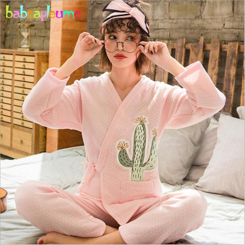 e8d9f26ae9ad3 2018 New Spring Fall Fashion Maternity Nursing Pajamas Sets Pregnant Women  Breastfeeding Sleepwear Plus Size Tops+Pants BC1810-1
