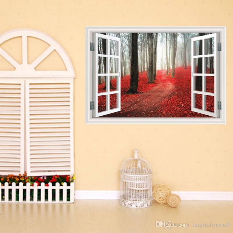 Kırmızı sonbahar Woodland Pencere Görünüm Duvar Etiketler Salon Yatak odası Koridor Dekor Duvar Resmi poster 3D Stereo Sahte Pencere Manzara Art Yapraklar