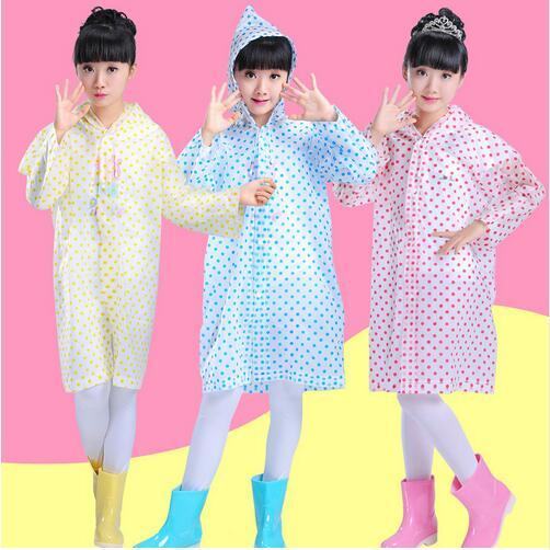 1pc Transparent Dots Poncho Kids Rain Coat Waterproof Student Rainsuit Children Raincoat Single Person Rainwear Rain Gear